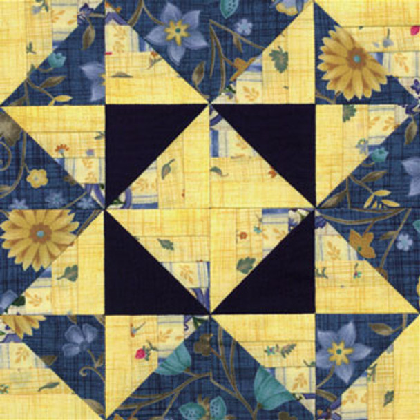 Winding Roads Variable Star Paper Pieced Quilt Block Pattern