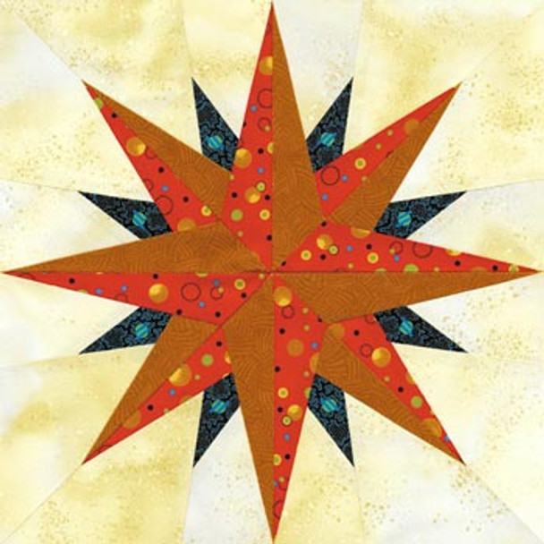 Zephyr Compass Paper Pieced Quilt Block Pattern