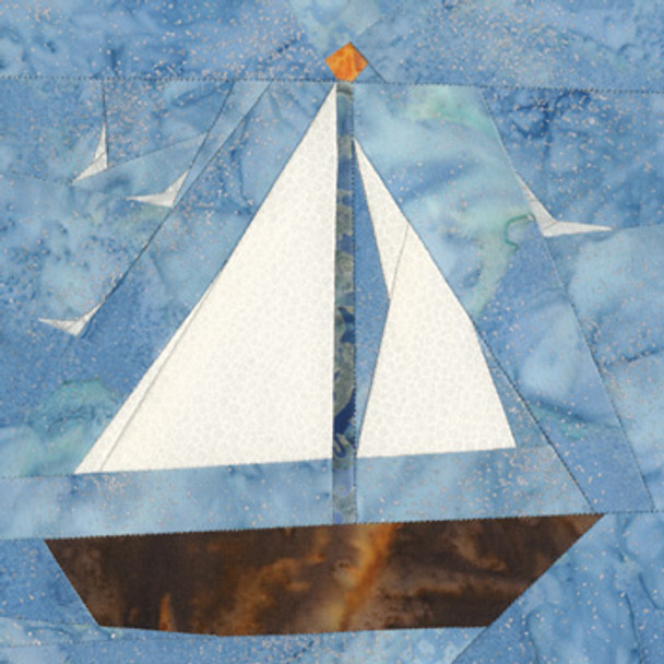 August Sailboat Paper Pieced Quilt Block Pattern