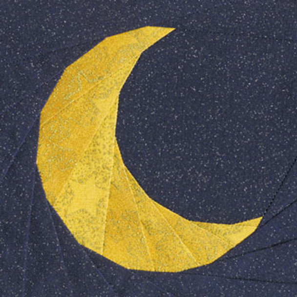 Crescent Moon Paper Pieced Quilt Block Pattern