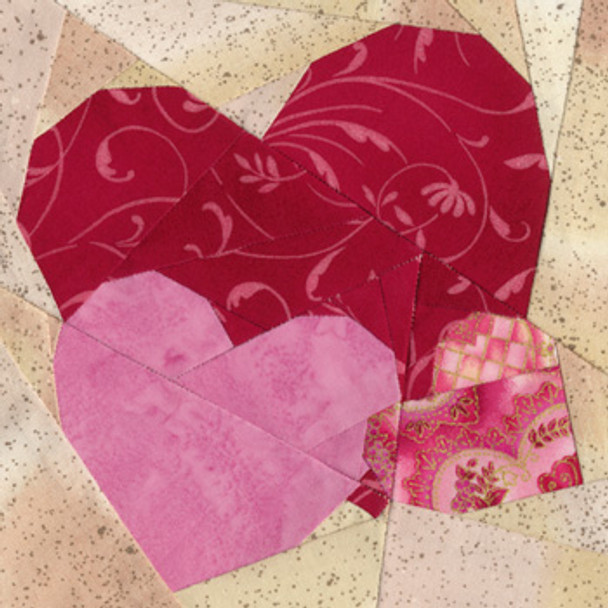 February Hearts Paper Pieced Quilt Block Pattern