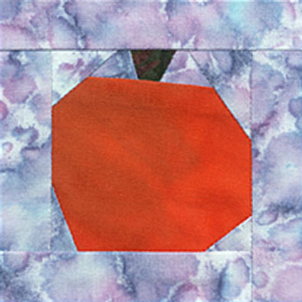 Harvest Moon Pumpkin Paper Pieced Quilt Block Pattern