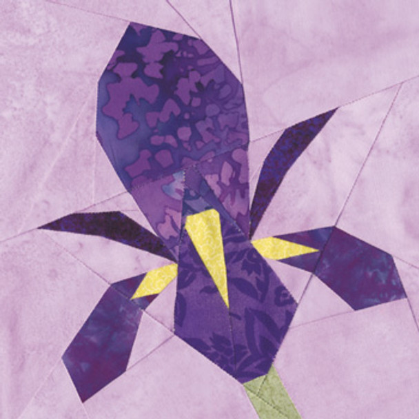 May Iris Paper Pieced Quilt Block Pattern