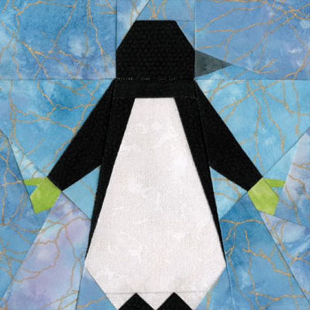 Penguin with Mittens Paper Pieced Quilt Block Pattern