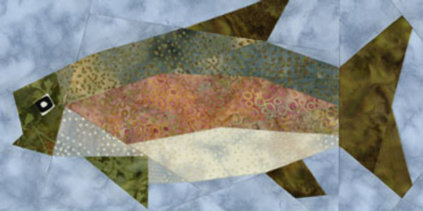 Rainbow Trout Paper Pieced Quilt Block Pattern