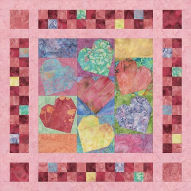 Candy Hearts Paper Pieced Quilt Pattern