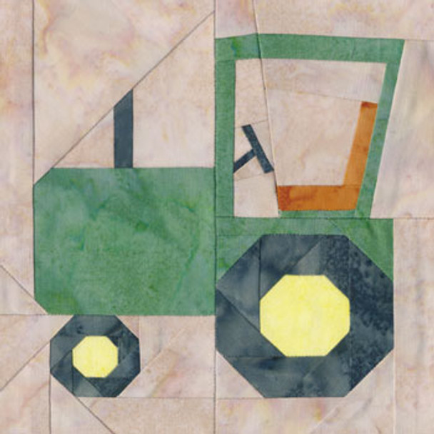 Tractor Paper Pieced Quilt Block Pattern