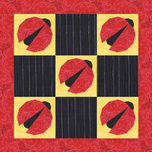 Ladybug Hugs Paper Pieced Quilt Pattern
