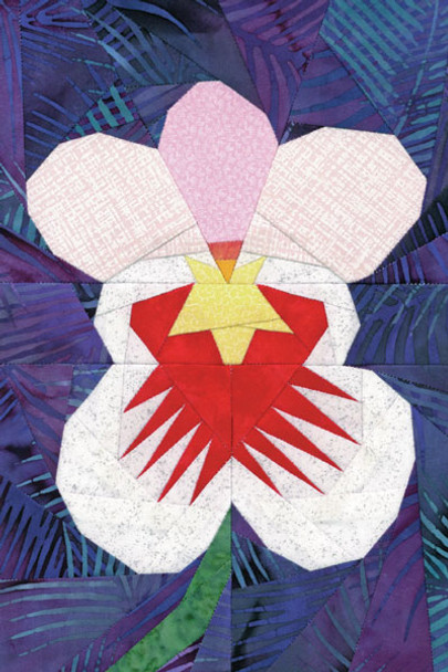 Miltoniopsis Orchid Paper Pieced Quilt Pattern