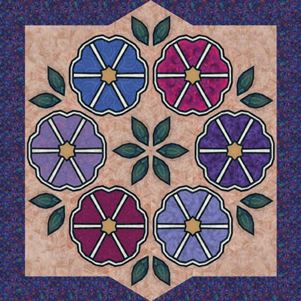 Mount Fuji Morning Glory Paper Pieced Quilt Pattern