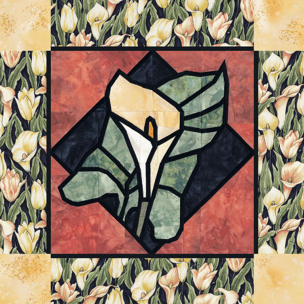 Stained Glass Calla Lily Paper Pieced Quilt Pattern