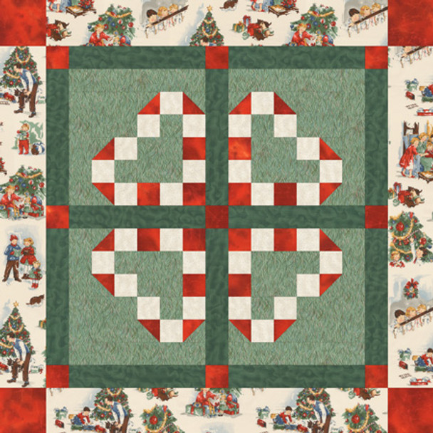 Candy Cane Hearts Paper Pieced Quilt Pattern