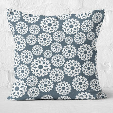Blue Grey Snowflake Throw Pillow