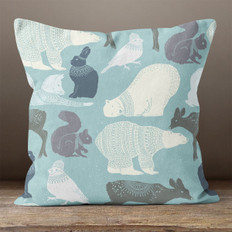 Light Blue Arctic Animals Throw Pillow