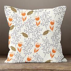White Flower and Bird Throw Pillow