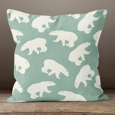 Sage Green Polar Bears Throw Pillow