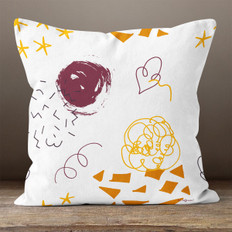 White with Doodles Throw Pillow