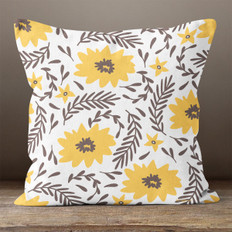 White Flowers and Leaves Throw Pillow