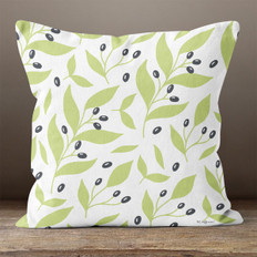 Cream Olive Branch Throw Pillow