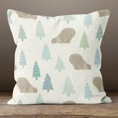 White Arctic Bears Throw Pillow