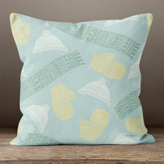 Light Blue Winter Clothes Throw Pillow