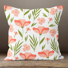 Cream with Pink Flowers Throw Pillow