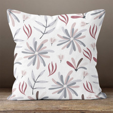 White with Purple Flowers Throw Pillow