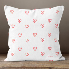 White with Red Hearts Throw Pillow