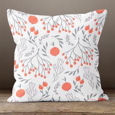 White with Oranges Throw Pillow