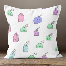White with Colorful Houses Throw Pillow