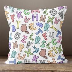 White Animal Alphabet Throw Pillow