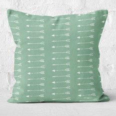 Green with White Arrows Throw Pillow
