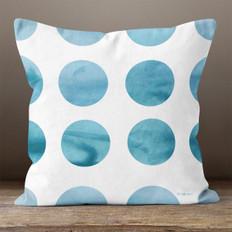 White Ocean Dots Throw Pillow