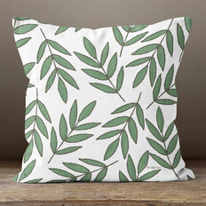 Green Leaves on White Throw Pillow