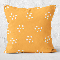 Orange Abstract Dots Throw Pillow