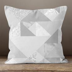 Grey Triangles Throw Pillow