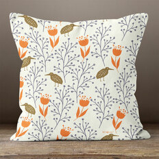 White Birds Plants & FlowersThrow Pillow