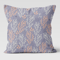 Lavender Pink & White Leaves Throw Pillow