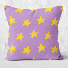 Purple with Yellow Stars Throw Pillow