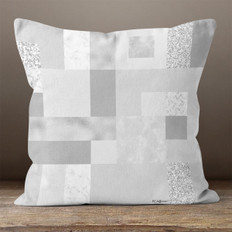 Grey Rectangles and Squares Throw Pillow