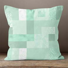 Green Rectangles and Squares Throw Pillow