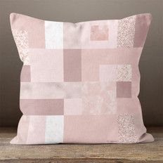 Pink Rectangles and Squares Throw Pillow