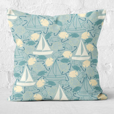 Teal Sailing Throw Pillow