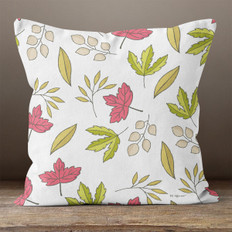 White with Green & Pink Autumn Leaves Throw Pillow
