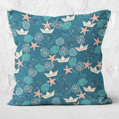 Teal Down By The Sea Throw Pillow
