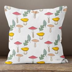 White Autumn Mushrooms Throw Pillow