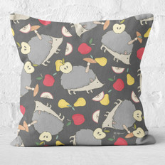 Grey with Hedgehogs & Fruit Throw Pillow