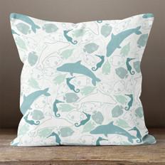 White Ocean Life Throw Pillow