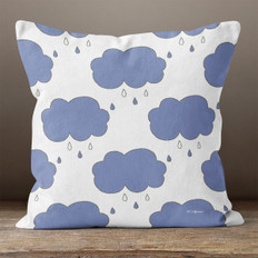 White with Blue Rain Clouds Throw Pillow