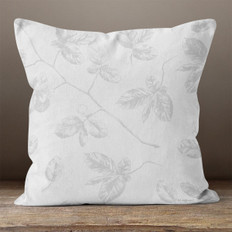 Grey Leaves on Branch Throw Pillow